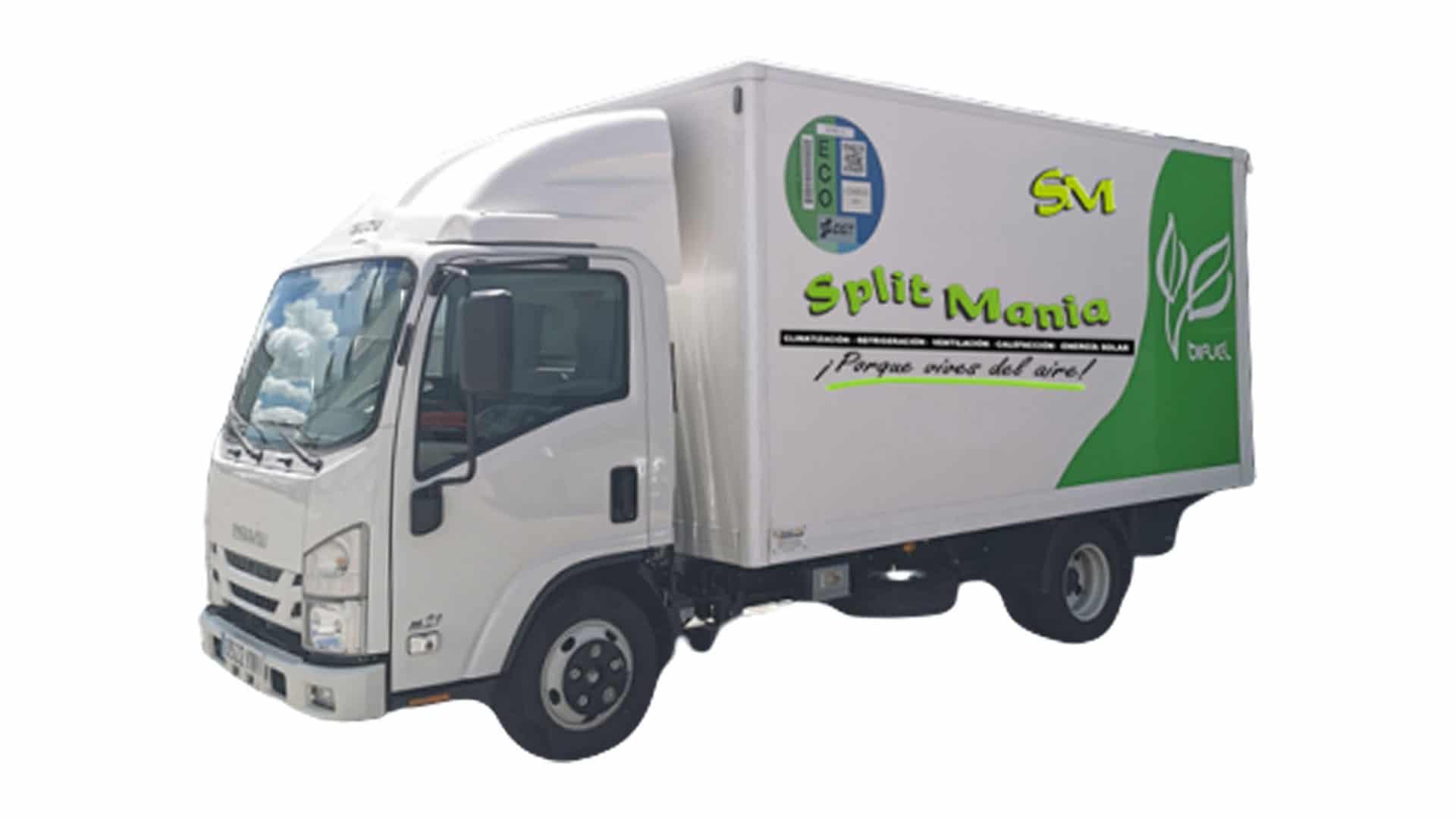 Hibridación diésel/GLP de Isuzu M21 Euro VI para Splitmanía. Conoce más detalles sobre la hibridacion diésel/GLP de BeGas o solicita presupuesto.